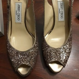 Gorgeous Jimmy Choo gold sparkly heels!